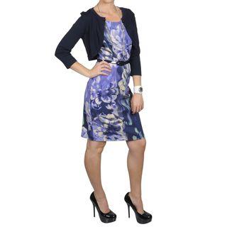 Sangria Womens Waterbrush Floral Print Dress Cropped Shrug Set