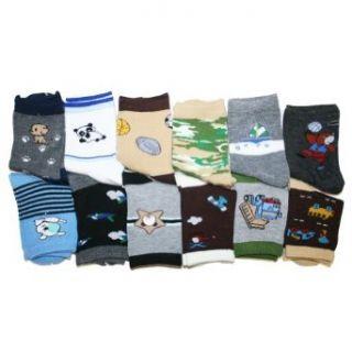 Kids Assorted Designs Crew Socks, 12 Pairs Per Pack