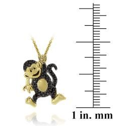 DB Designs 18k Yellow Gold Over Silver Black Diamond Accent Playful
