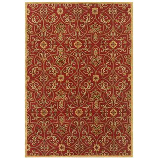 Traditional Red/ Gold Hand Tufted Wool Area Rug (9 6 X 13 6