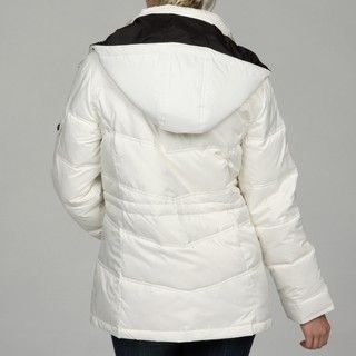 London Fog Womens Tubular Quilted Hooded Parka