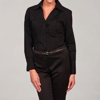 Artrageous Womens Black Ruffle Button Front Blouse