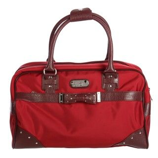 Jessica Simpson Red Embellished Bow tie Carry On Tote