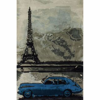 Rug Collective Handmade Eiffel Tower Car Blue Wool Rug
