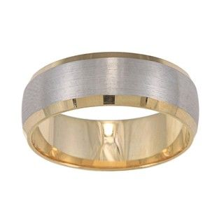 14k Two tone Gold Satin Finish Easy fit Wedding Band