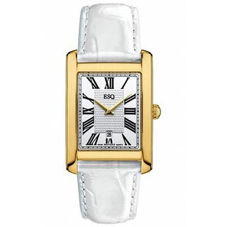 ESQ by Movado Womens Filmore Gold Plated White Leather Watch