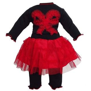 AnnLoren 2 piece Black/ Red Tutu Doll Outfit