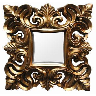 Square Contemporary Gold Finish Scroll Mirror
