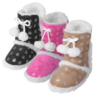Journee Kids Girls Hipster Peace Pattern Toggle Slipper Boots