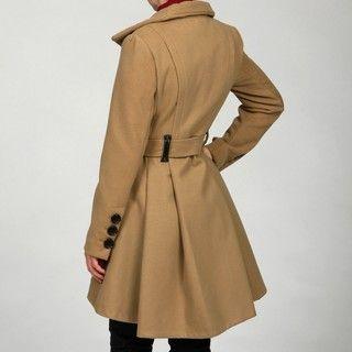 Steve Madden Womens Camel Belted Coat