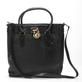 MICHAEL Michael Kors Hamilton North/South Black Leather Tote