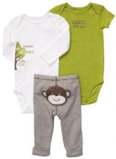 Carters Baby Boys 3 Piece Lime Monkey Bodysuit Set