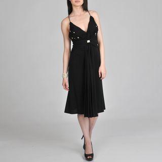 Janine of London Womens Black Embellished Cocktail Dress