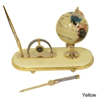Casa Cortes Executive Handcrafted Gemstone Globe Desk Pen Set (Gift