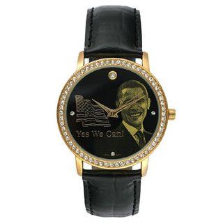 Barack Obama BO 4710 Womens Black Leather Strap Inauguration Watch