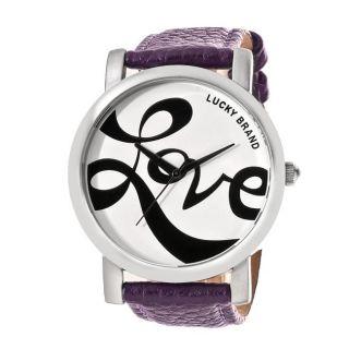 Lucky Brand Womens Silvertone Purple Leather Pebblegrain Strap Watch