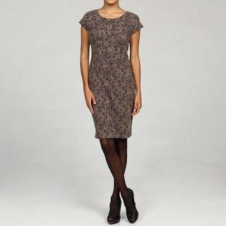 Calvin Klein Taupe/ Brown Cap sleeve Dress