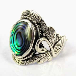 Beautiful Couple Swan Oval Abalone .925 Silver Ring (Thailand