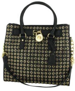 MICHAEL KORS Hamilton Grommet Leather Womens Handbag Black