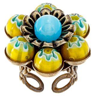 Sweet Romance Pewter Millefiori Sun Yellow Candy Glass Flower Ring