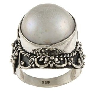 Lily B Silver Round Mabe Pearl Rope and Swirl Design Ring (15 mm