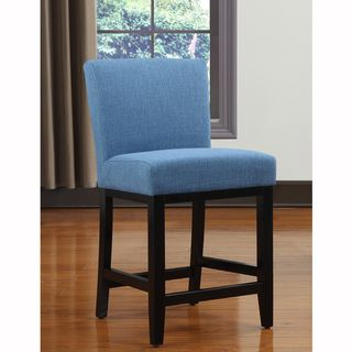 Portfolio Orion Caribbean Blue Linen Upholstered 24 inch Bar Stool