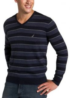 Nautica Mens Striped V Neck Cashmere Sweater, Navy, Large
