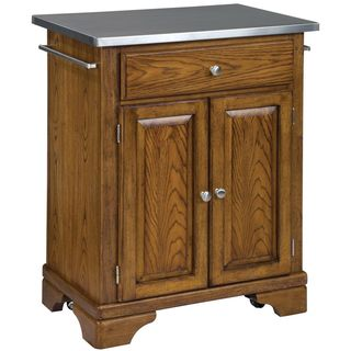 Home Styles Premium Oak Cuisine Cart with Stainless Steel Top