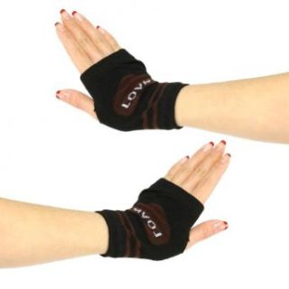 Knit Hand Warmer Fingerless Love Heart Gloves Brown with