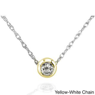 14k Gold 1/10ct TDW Diamond Solitaire Necklace with Gift Box