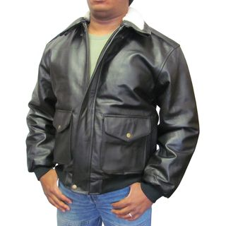 Amerileather Mens Black Leather Bomber Jacket