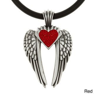 Pewter Colored Crystal Heart Wings of Uriel Necklace