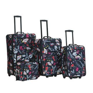 Rockland Las Vegas Black 4 piece Expandable Luggage Set
