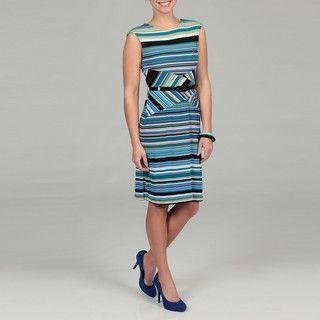 Scarlett Womens Turquoise Striped Belted Dress