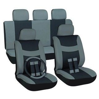 Two tone Grey 16 piece Car Seat Cover Set