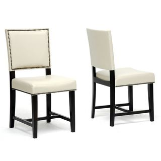 Nottingham Cream Faux Leather Modern Dining Chairs (Set of 2