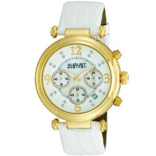 August Steiner Womens Crystal MOP Chronograph Strap Watch