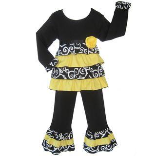 Ann Loren Girls 2 piece Boutique Bumble Bee Rumba Pant Set