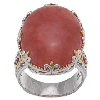 Michael Valitutti Two tone Rhodochrosite and Ruby Ring