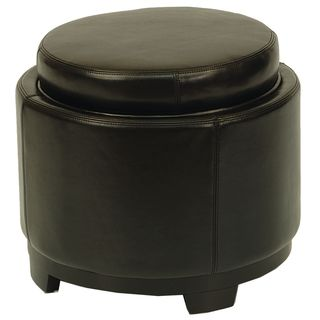 Round Black Ottoman with Storage Tray