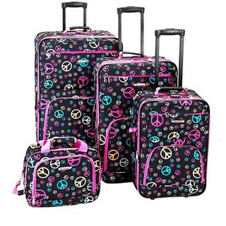 Rockland Designer Peace Sign 4 piece Luggage Set