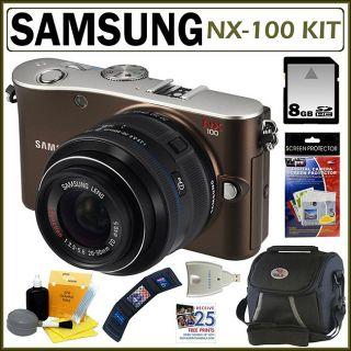 Samsung NX 100 14.6MP Digital SLR Brown Camera with 8GB Kit