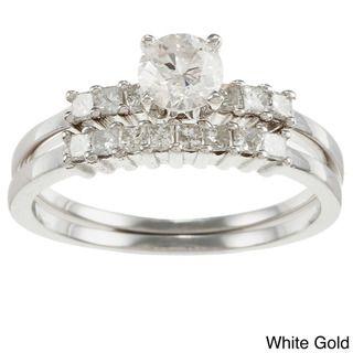 14k Gold 1ct TDW Round Diamond Bridal Ring Set (H I, I1 I2