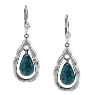 Southwest Moon Sterling Silver Turquoise Teardrop Earrings