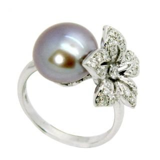 sire 14k White Gold Freshwater Pearl and 3/8ct TDW Diamond Ring