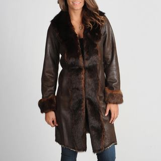 Nuage Womens Byrne Brown Faux Fur Trimmed Coat