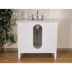 White Marble Top 38 inch Single sink Bathroom Vanity