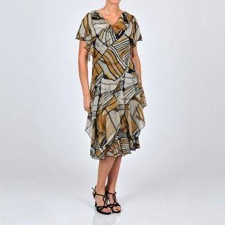 Robbie Bee Womens Printed Chiffon Embellished Dress