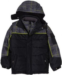 Big Chill Boys 8 20 Plaid Yoke Vest Systems,Black Plaid,XL
