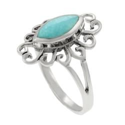 Tressa Sterling Silver Marquise cut Turquoise Ring